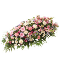 Funeral spray of mixed flowers in pink colour